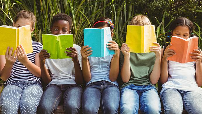 Children reading books.