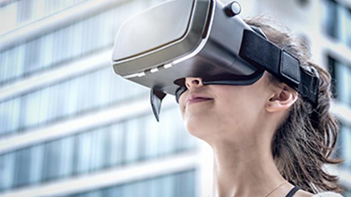 girl wearing VR rig